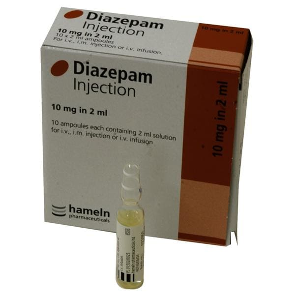 Emergency Drugs Diazepam Injection 10mg in 2ml - 10 ampoules