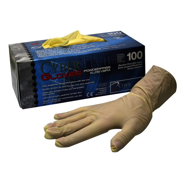 Cybertech Latex Super Soft Powder-Free Aloe Vera Gloves Medium 100pk