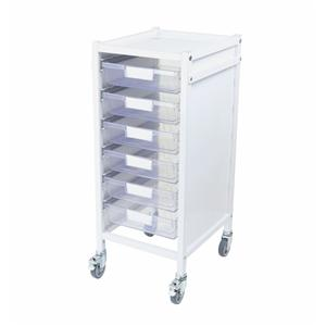 Attend 300 Medical Storage Trolley - 6 Clear Shallow Trays