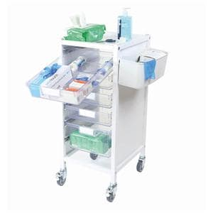 Attend 300 Medical Storage Tolley - 4 Clear Shallow Trays and 1 Deep Tray