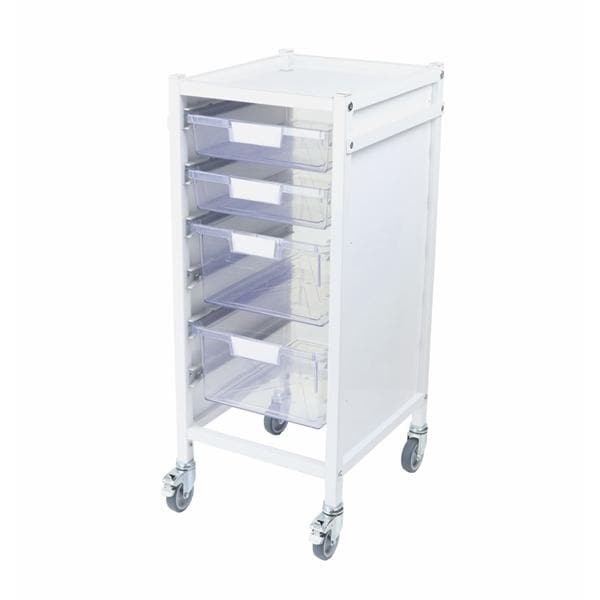 Attend 300 Medical Storage Trolley - 2 Clear Shallow Trays and 2 Deep Trays