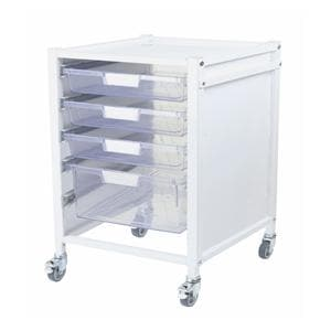 Attend 400 Medical Storage Tolley 3 Clear Shallow Depth Trays and 1 Deep Tray