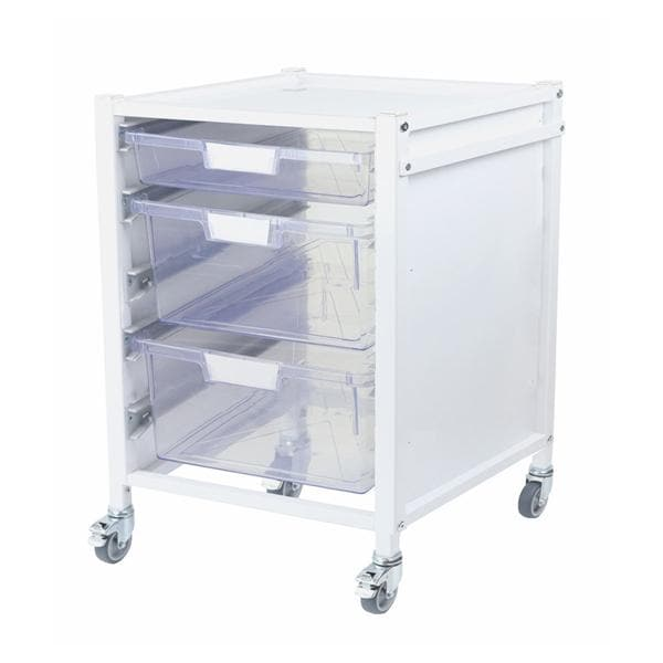 Attend 400 Medical Storage Trolley 1 Clear Shallow Depth Trays and 2 Deep Trays