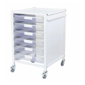 Attend 500 Medical Tray Trolley 6 Clear Shallow Depth Trays