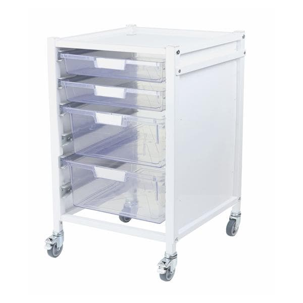 Attend 500 Medical Tray Trolley 2 Clear Shallow Depth Trays and 2 Deep Trays