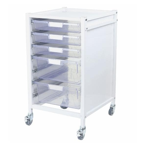 Attend 550 Hospital Tray Trolley 3 Clear Shallow Depth Trays and 2 Deep Trays