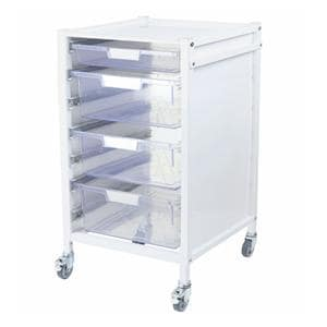 Attend 550 Hospital Tray Trolley 1 Clear Shallow Depth Tray and 3 Deep Trays